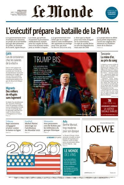 Le Monde du Jeudi 20 Juin 2019