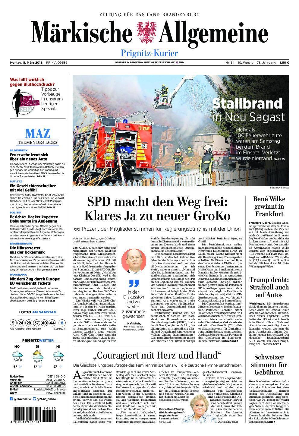 Märkische Allgemeine Prignitz Kurier - 05. März 2018