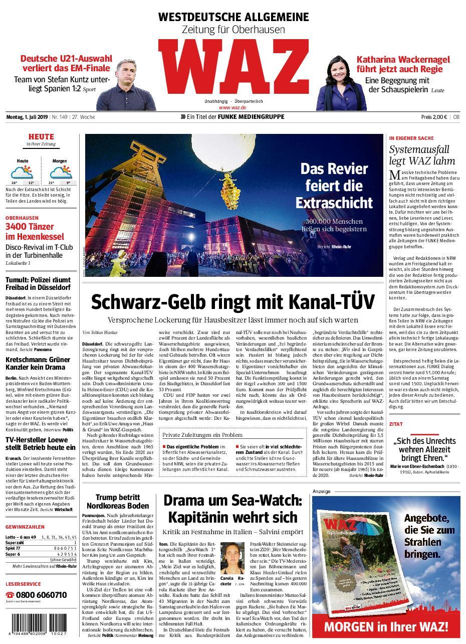 WAZ Westdeutsche Allgemeine Zeitung Oberhausen-Sterkrade - 01. Juli 2019