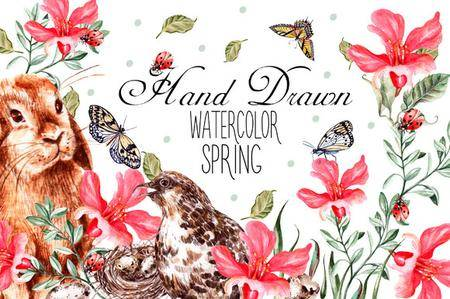 CreativeMarket - Hand Drawn watercolor SPRING