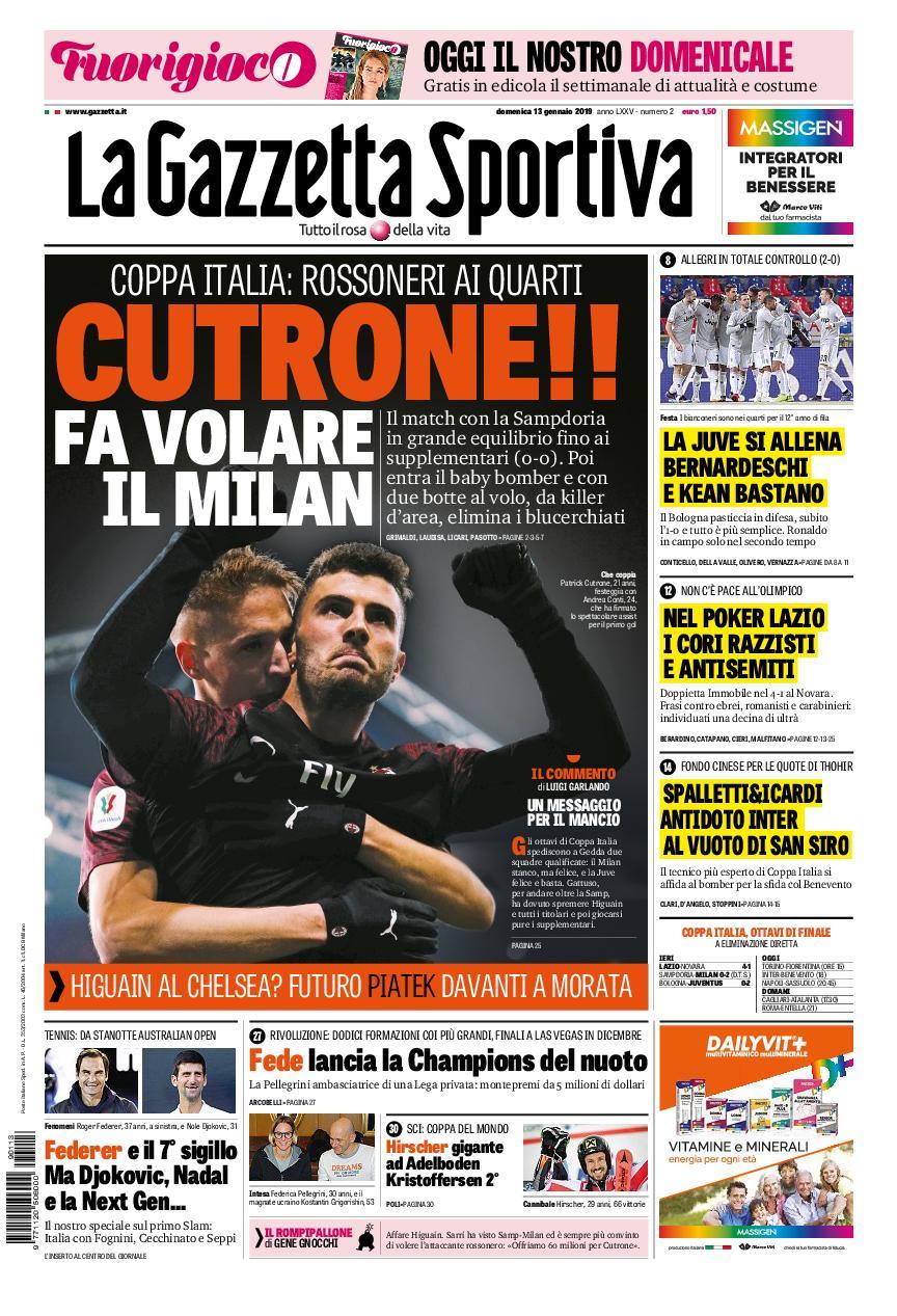 La Gazzetta dello Sport Sicilia – 13 gennaio 2019