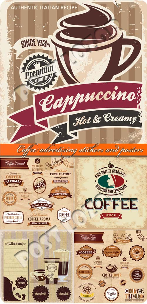 Coffee advertising stickers and posters vector