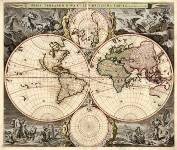Heavily decorated 18th Century maps of the world