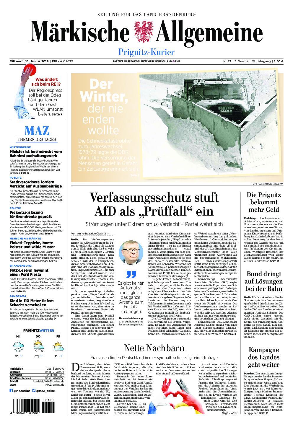 Märkische Allgemeine Prignitz Kurier - 16. Januar 2019