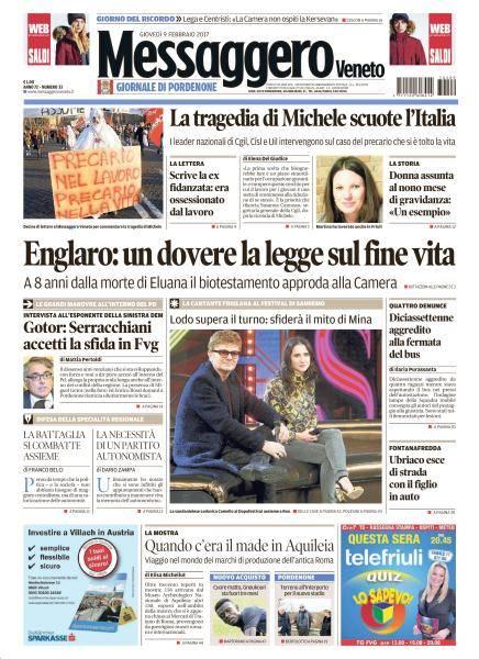 Il Messaggero Veneto Pordenone - 9 Febbraio 2017