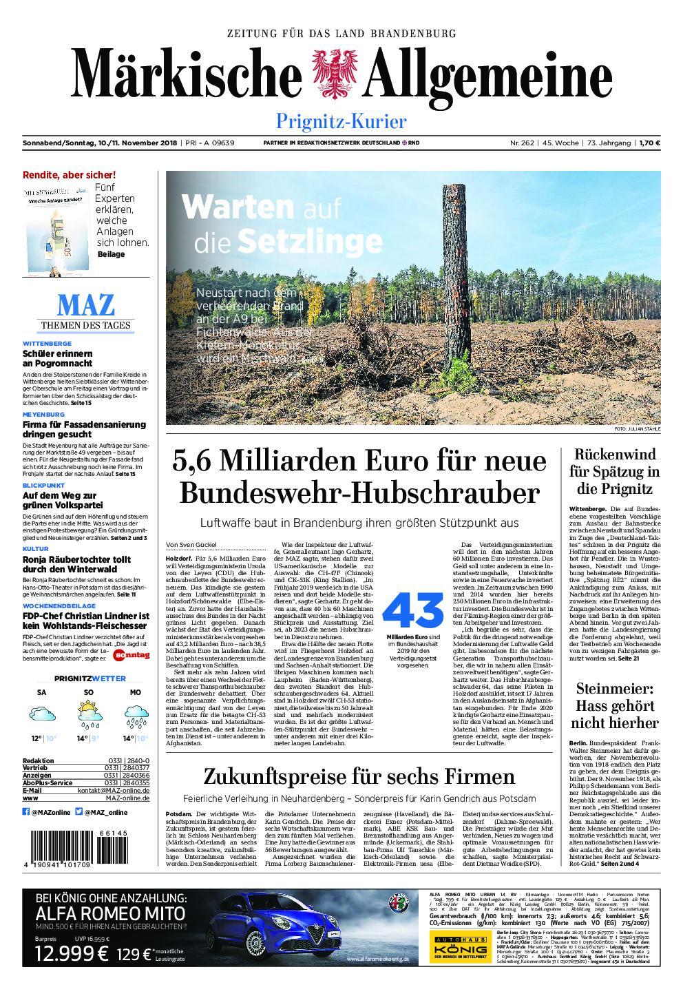 Märkische Allgemeine Prignitz Kurier - 10. November 2018