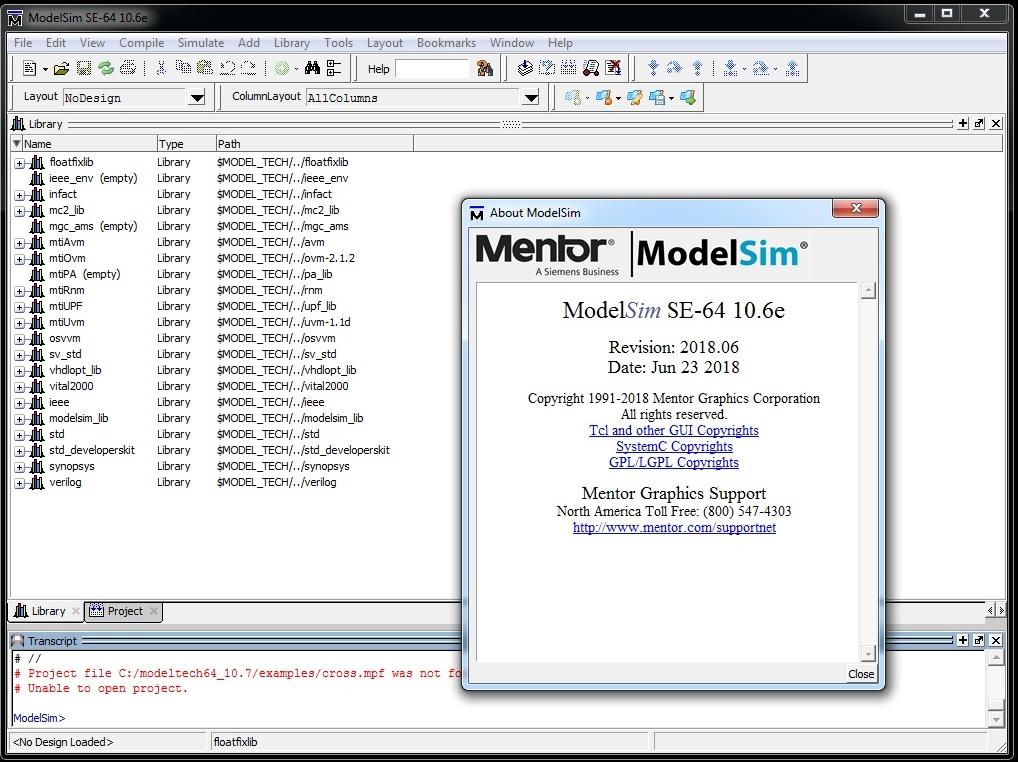 Mentor Graphics ModelSim SE-64 10.6e