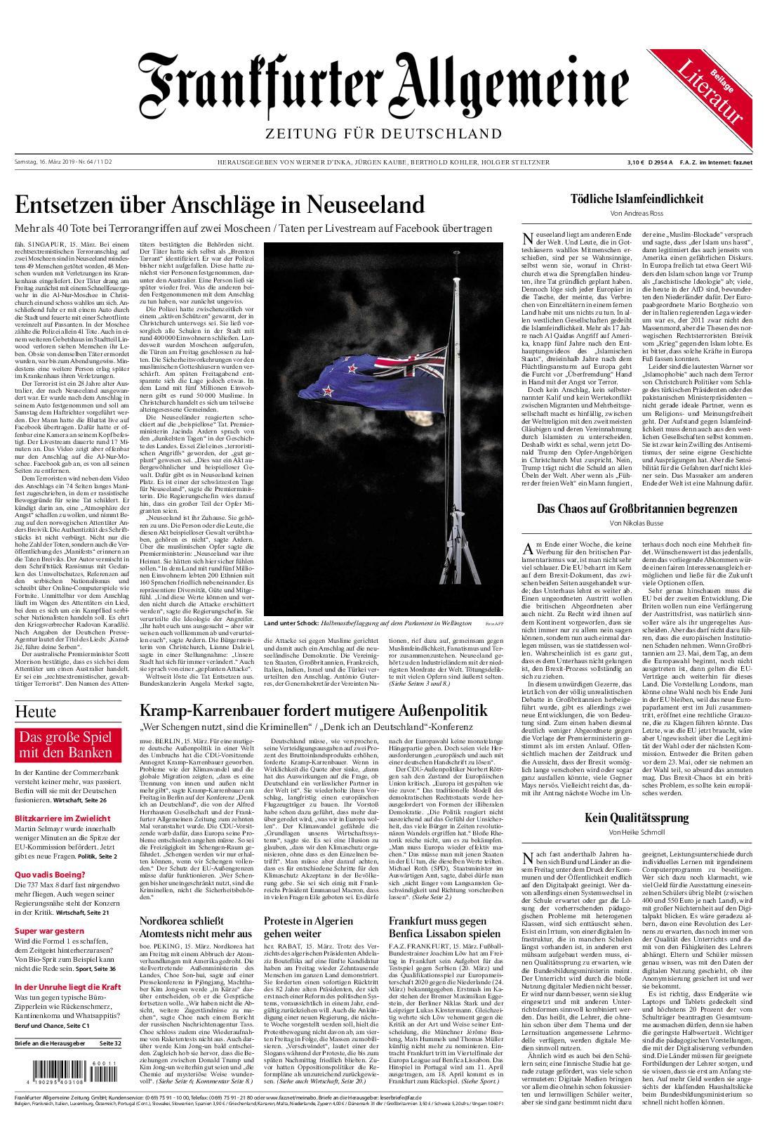 Frankfurter Allgemeine Zeitung F.A.Z. - 16. März 2019