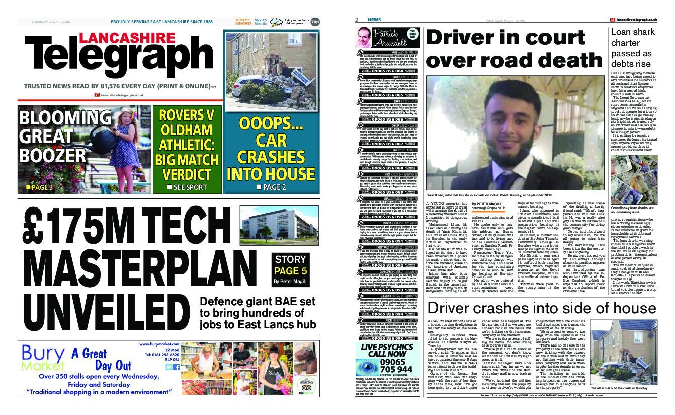 Lancashire Telegraph (Blackburn, Darwen, Hyndburn, Ribble Valley) – August 14, 2019