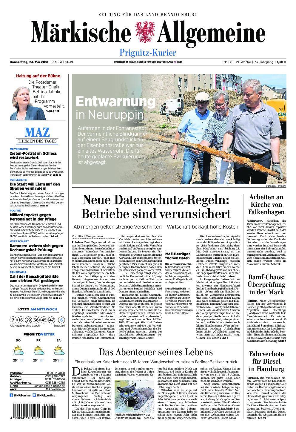 Märkische Allgemeine Prignitz Kurier - 24. Mai 2018