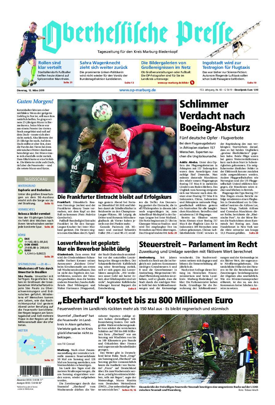 Oberhessische Presse Marburg/Ostkreis - 12. März 2019