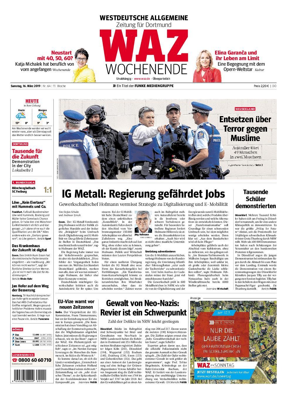 WAZ Westdeutsche Allgemeine Zeitung Dortmund-Süd II - 16. März 2019