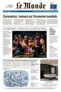Le Monde du Mercredi 4 Mars 2020