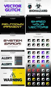 VectorGlitch 60 Graphic Styles for Illustrator + Bonus