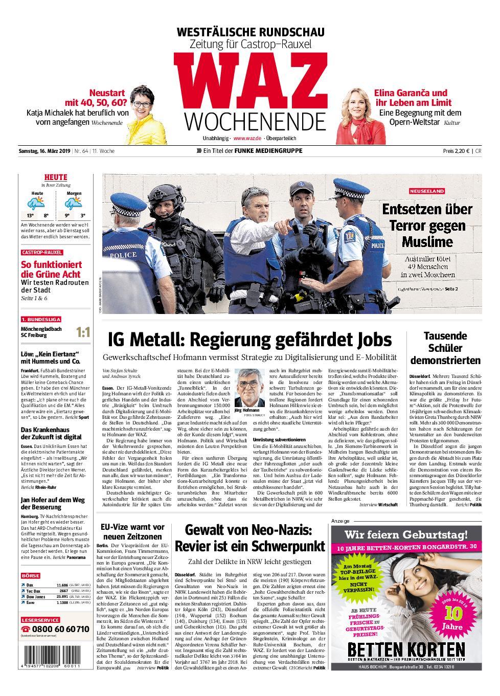 WAZ Westdeutsche Allgemeine Zeitung Castrop-Rauxel - 16. März 2019