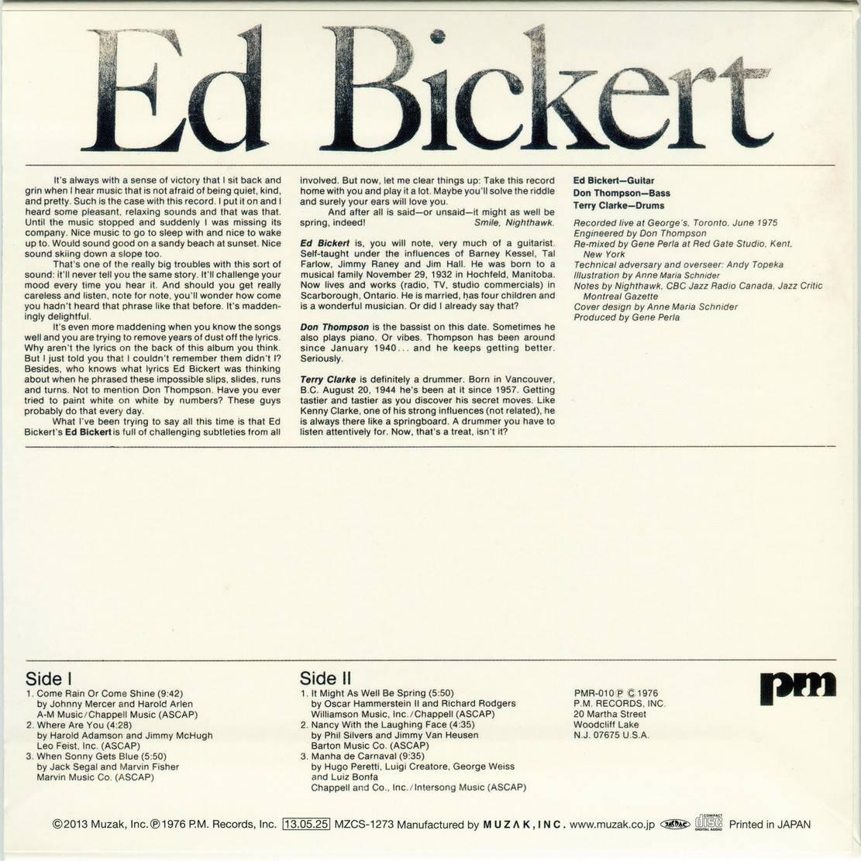 Ed Bickert - Ed Bickert (1975) {Japan SHM-CD Mini LP MZCS