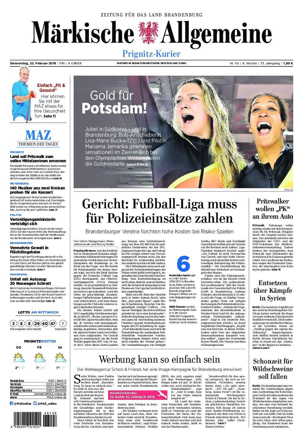 Märkische Allgemeine Prignitz Kurier - 22. Februar 2018