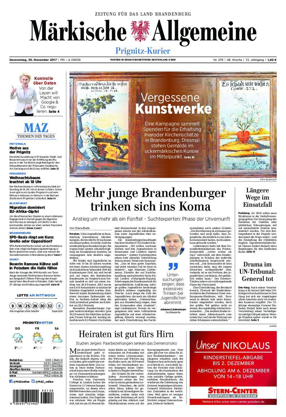 Märkische Allgemeine Prignitz Kurier - 30. November 2017