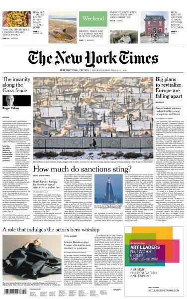 International New York Times - 21-22 April 2018