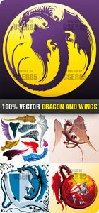 Stock Vector - Dragon and Wings