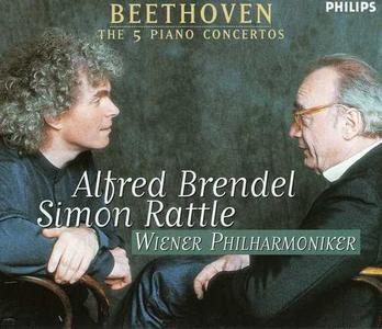 Alfred Brendel, Wiener Philharmoniker, Sir Simon Rattle - Beethoven: The 5 Piano Concertos (3CD) (2001)