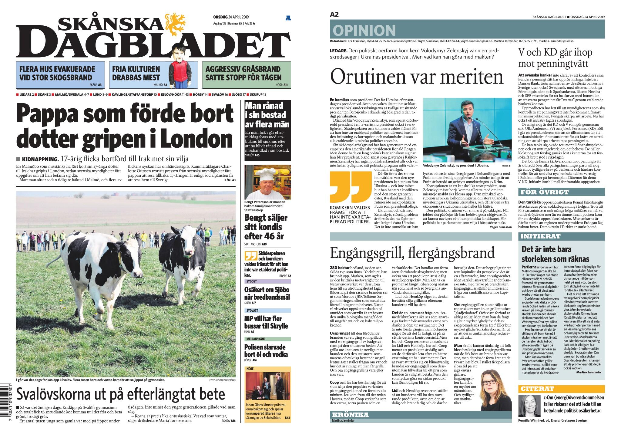 Skånska Dagbladet – 24 april 2019