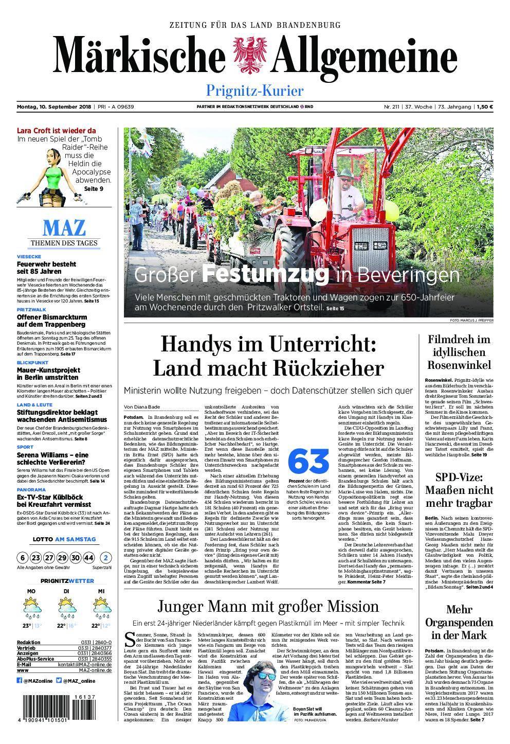 Märkische Allgemeine Prignitz Kurier - 10. September 2018