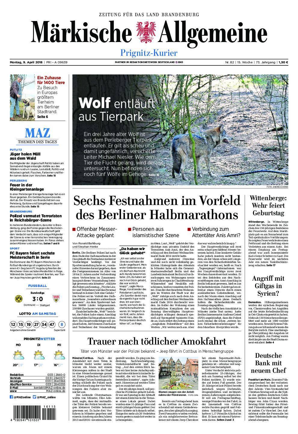 Märkische Allgemeine Prignitz Kurier - 09. April 2018