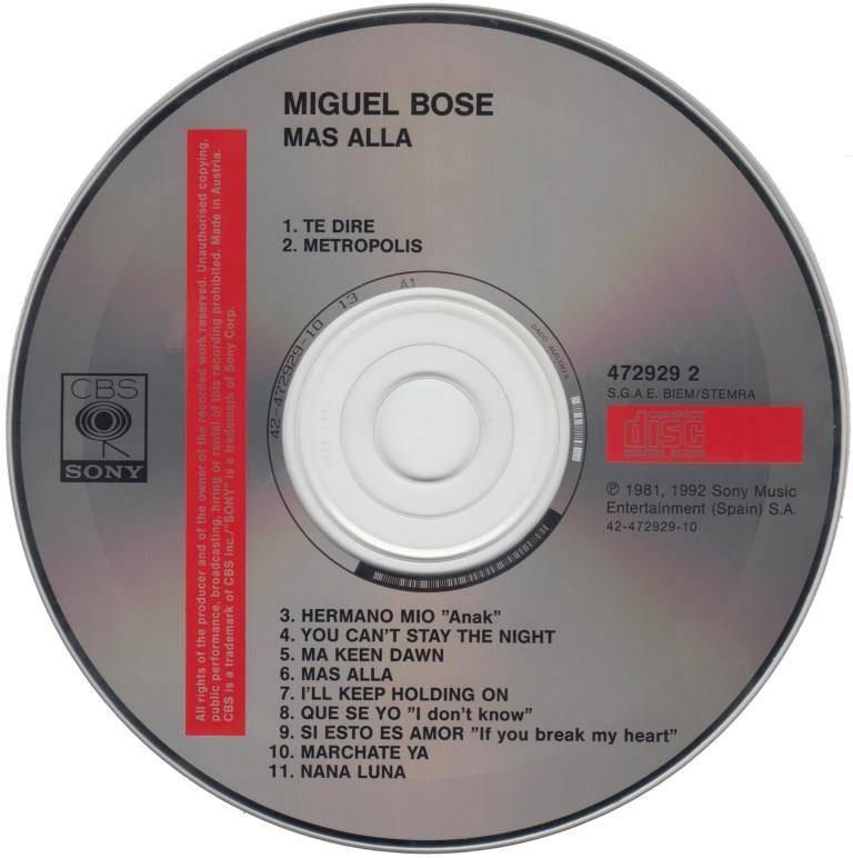 Miguel Bosé - Más Allá (1981) [1992, Reissue]