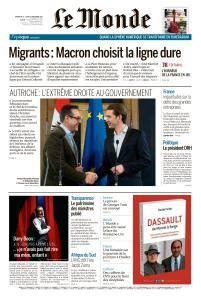 Le Monde du Dimanche 17 et Lundi 18 Décembre 2017