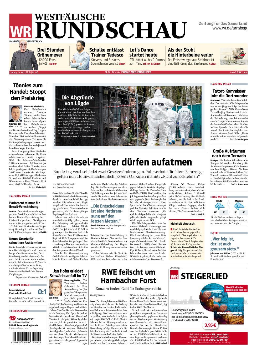 Westfälische Rundschau Arnsberg - 15. März 2019