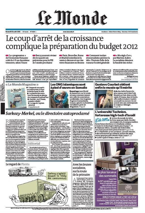 LE MONDE & LE MONDE magazine - 13 Août 2011