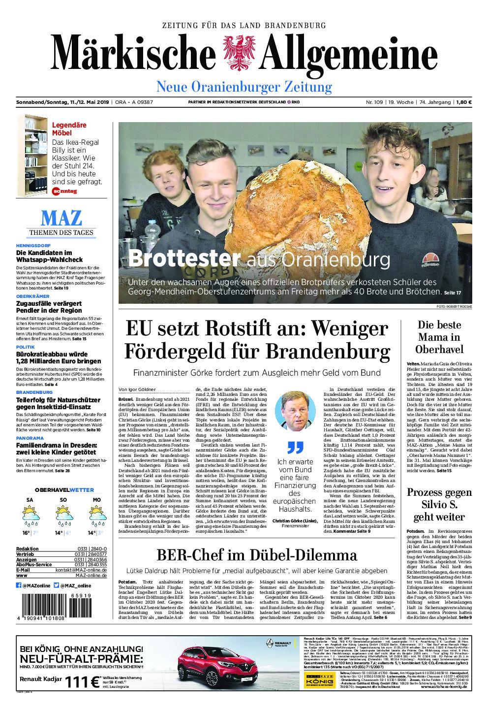 Neue Oranienburger Zeitung - 11. Mai 2019