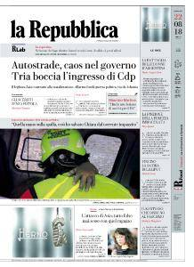 la Repubblica - 22 Agosto 2018
