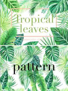 CreativeMarket - Tropical Leaves. Watercolor Clip Art