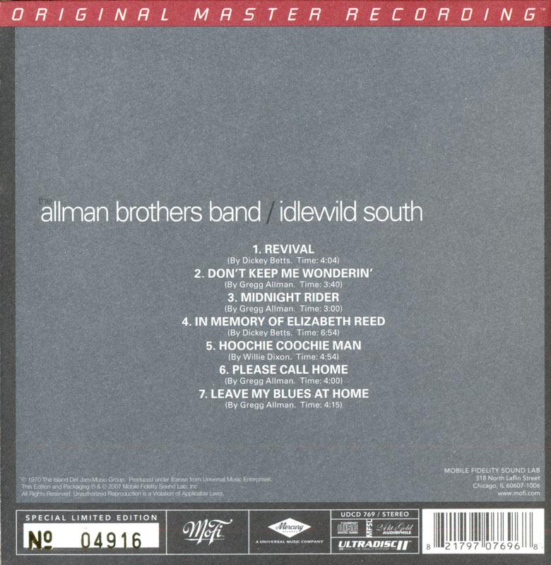 The Allman Brothers Band - Idlewild South (1970) [MFSL UDCD