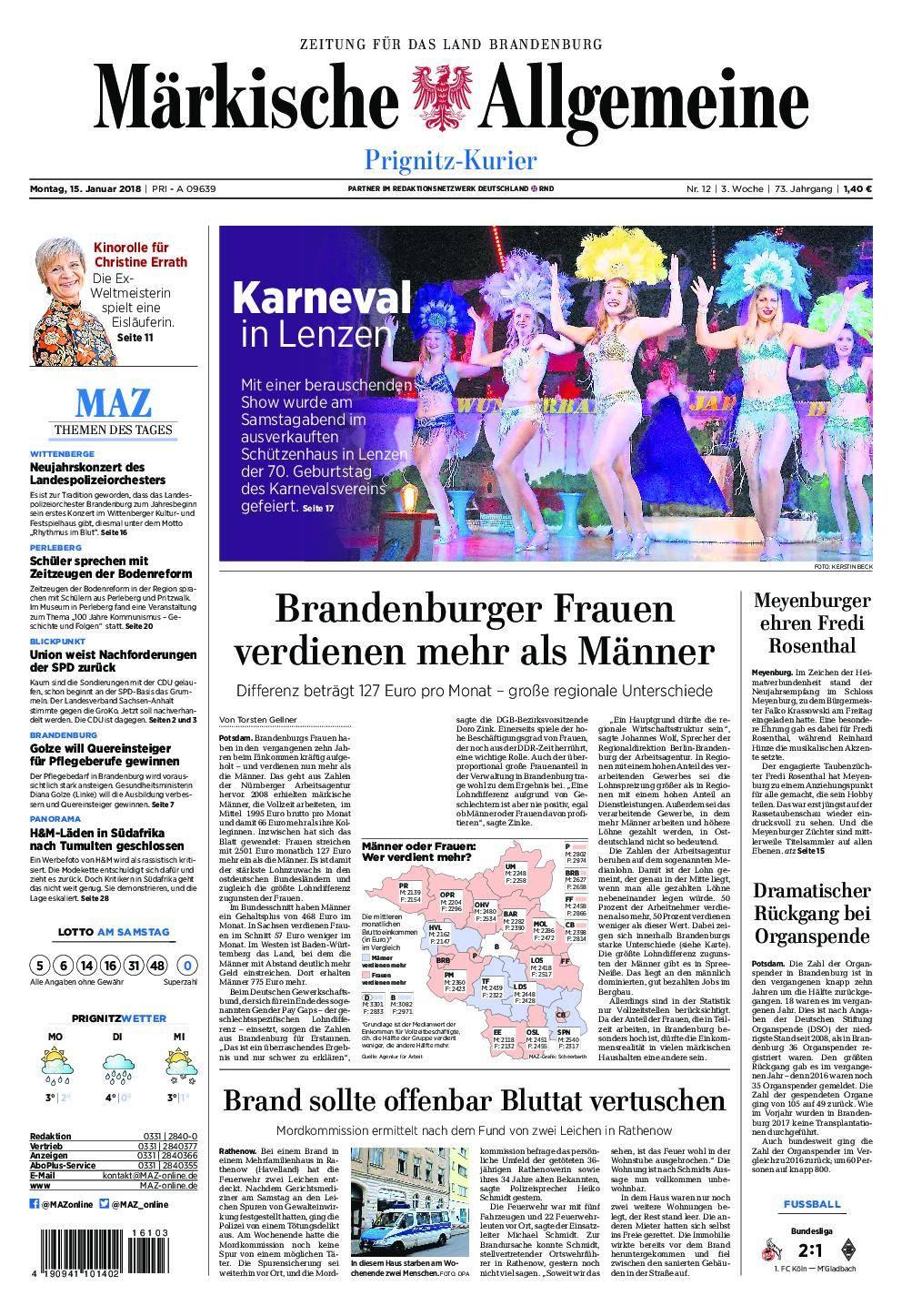 Märkische Allgemeine Prignitz Kurier - 15. Januar 2018