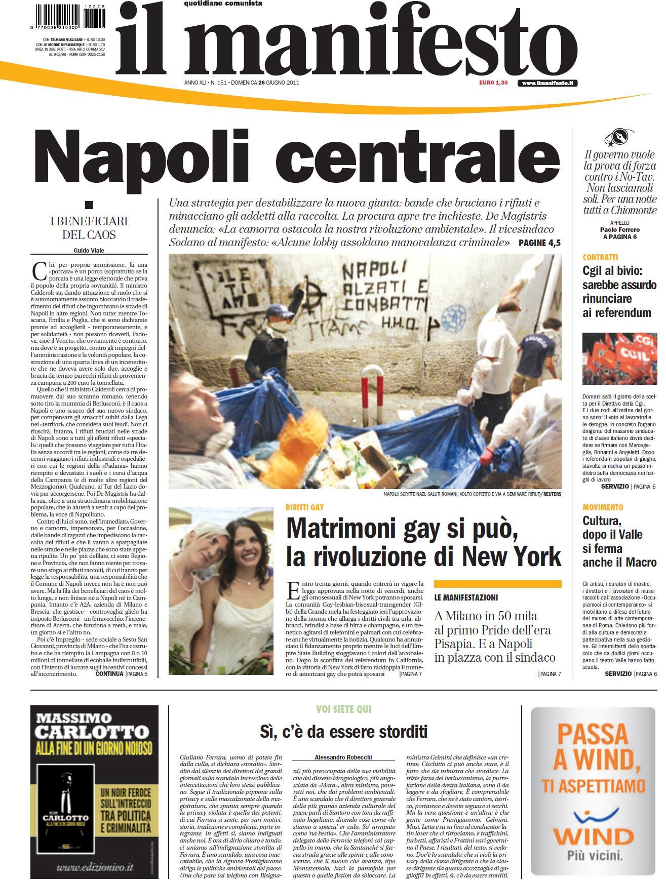 IL MANIFESTO 26 GIUGNO 2011