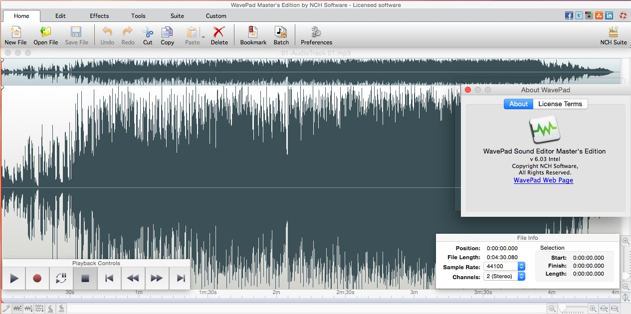 NCH WavePad Sound Editor Master's Edition 6 03 Mac OS X / AvaxHome