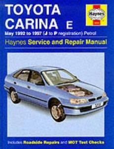 Toyota Carina Е 1992 to 1997 (J to P registration ), petrol. Haynes Servica and Repair Manual.