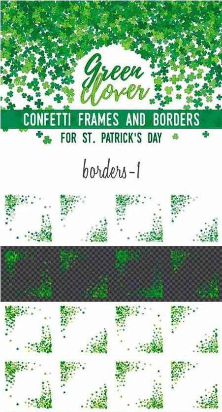 CreativeMarket - Green Clover Frames and Borders
