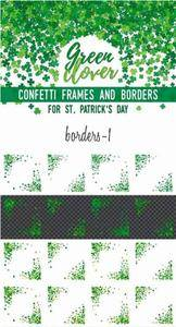 CreativeMarket - Green Clover Frames and Borders