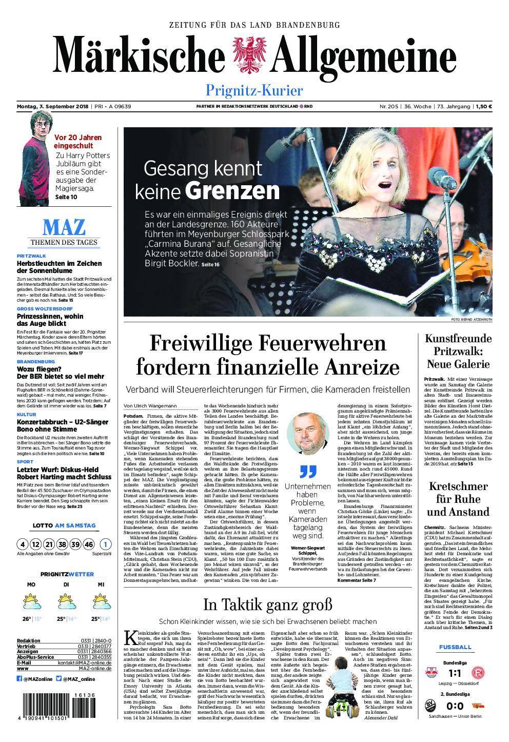 Märkische Allgemeine Prignitz Kurier - 03. September 2018