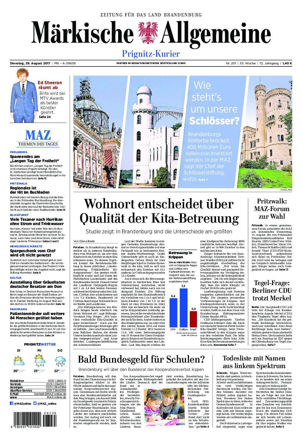 Märkische Allgemeine Prignitz Kurier - 29. August 2017