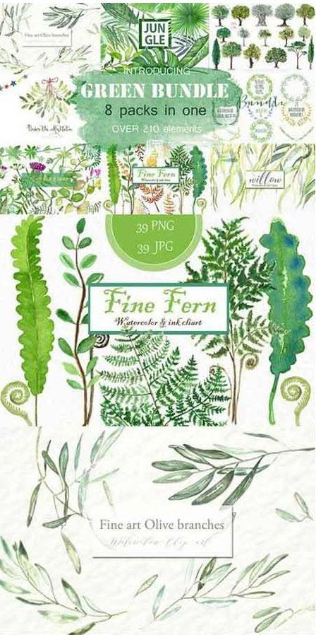 CreativeMarket - Green Bundle. Watercolor clipart