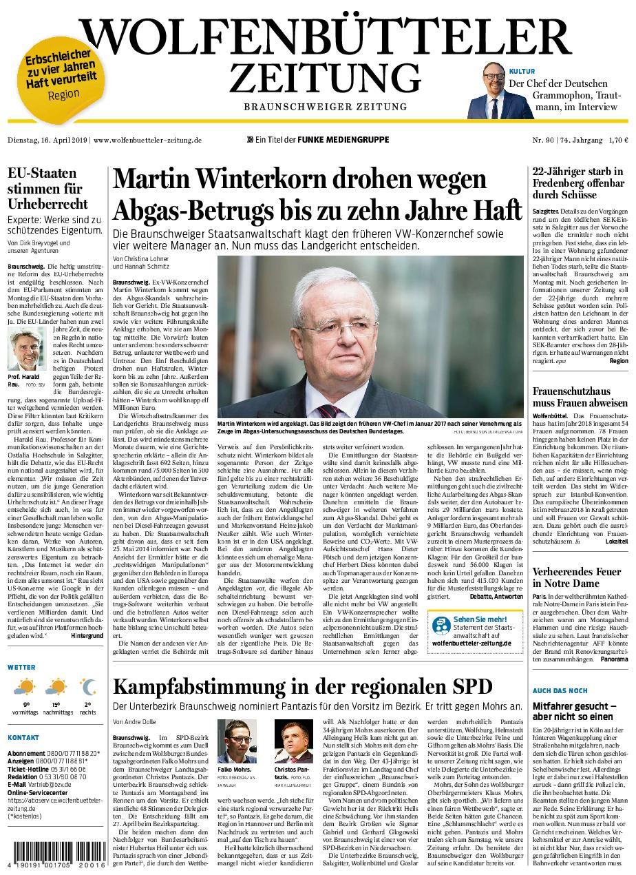 Wolfenbütteler Zeitung - 16. April 2019