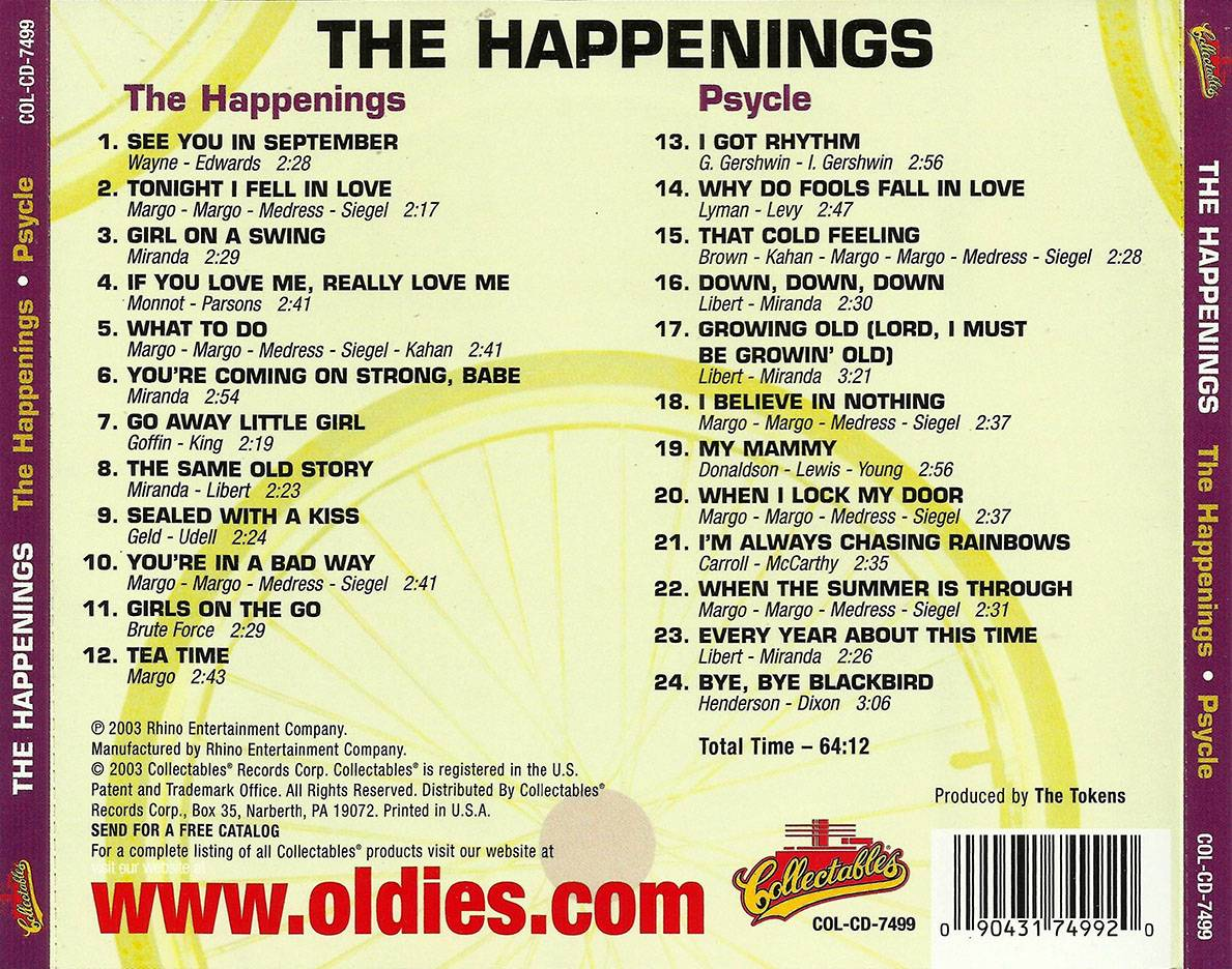 The Happenings - 'The Happenings' (1966) + 'Psycle' (1967) 2 LP in 1 CD, Remastered 2003 [Re-Up]