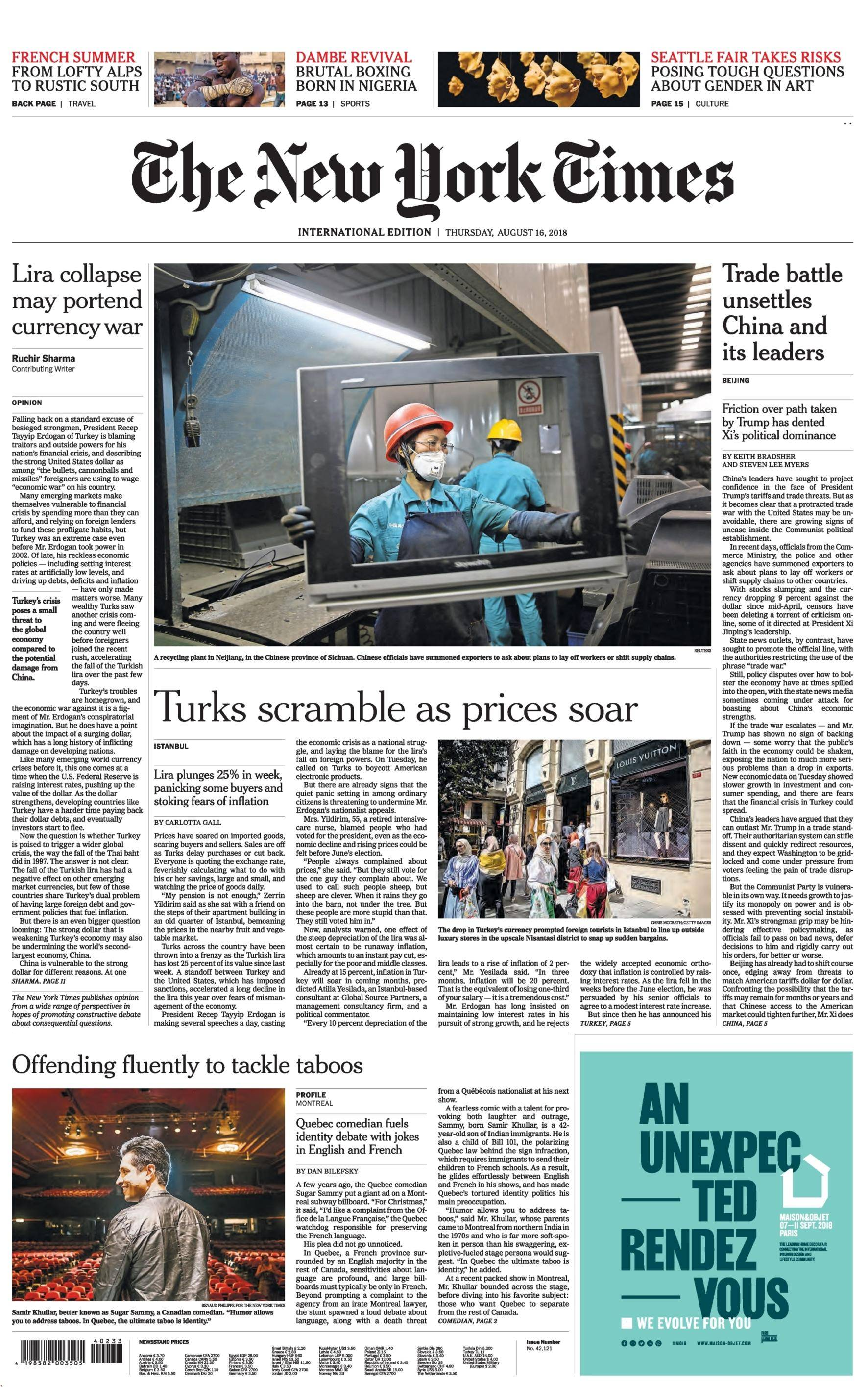 International New York Times - 16 August 2018