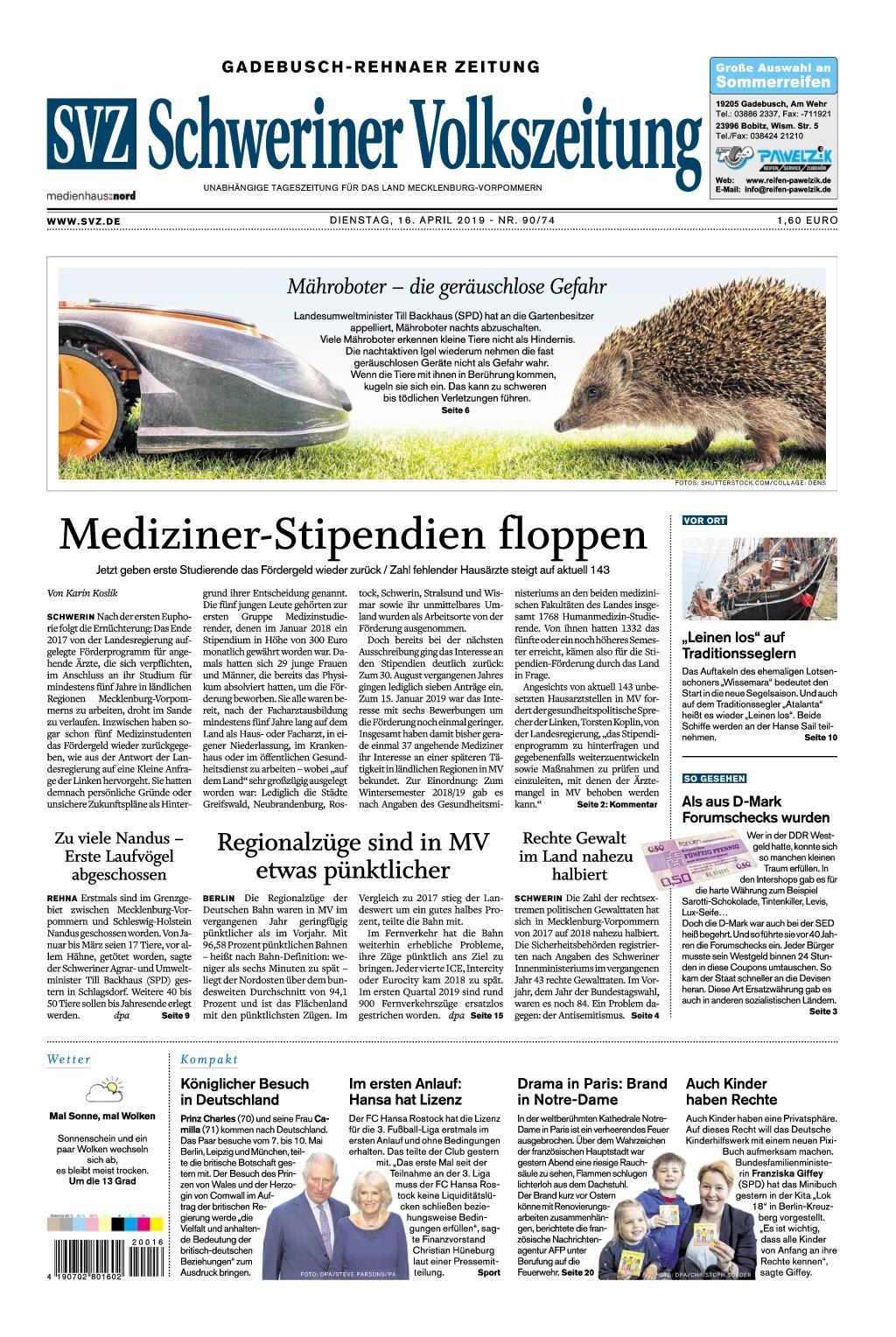 Schweriner Volkszeitung Gadebusch-Rehnaer Zeitung - 16. April 2019