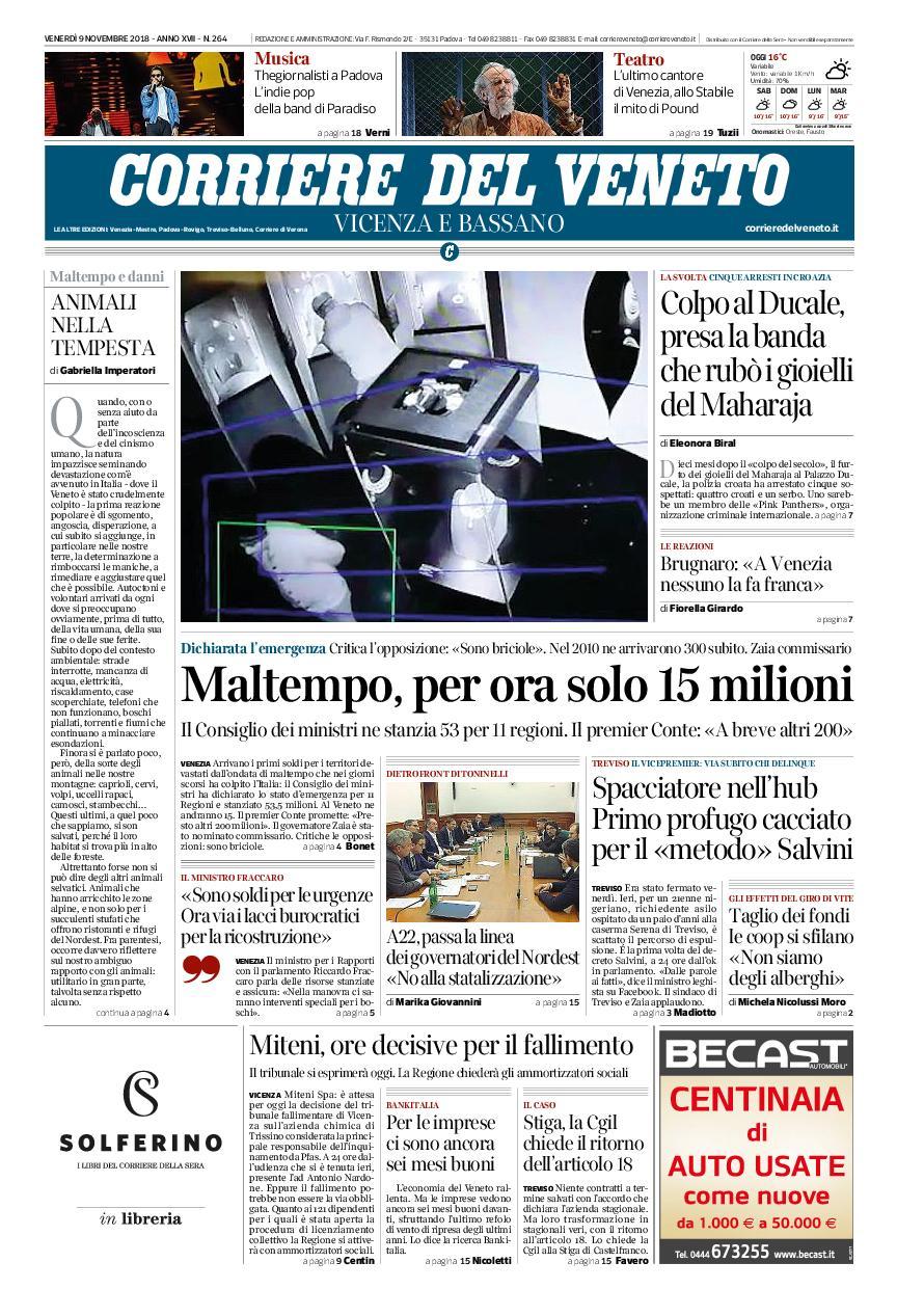 Corriere del Veneto Vicenza e Bassano – 09 novembre 2018